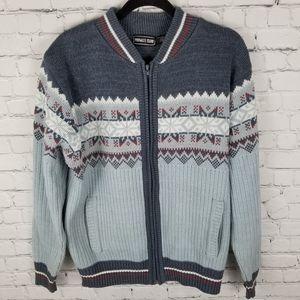 PRIVATE CLUB   full zip knit fair isle sweater